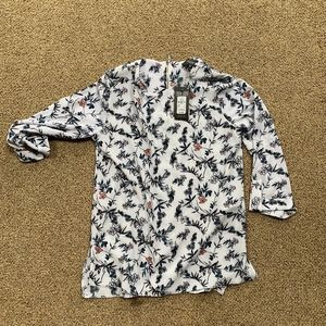 White long sleeve floral blouse